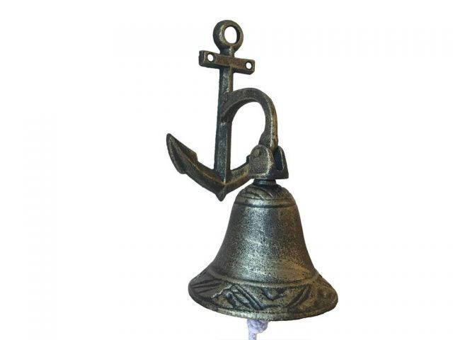 Rustic Gold Cast Iron Wall Hanging Anchor Bell 8