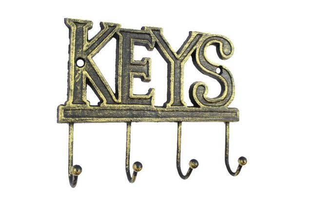 Rustic Gold Cast Iron Keys Hooks 8