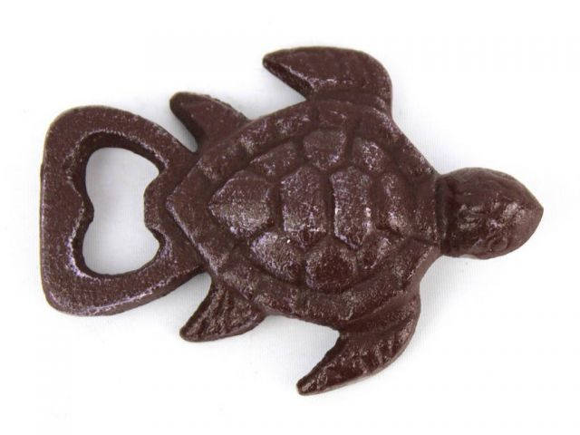 Dark Red Whitewashed Cast Iron Turtle Opener 4.5