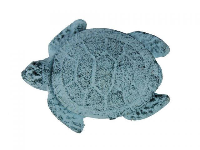 Dark Blue Whitewashed Cast Iron Decorative Turtle Paperweight 4