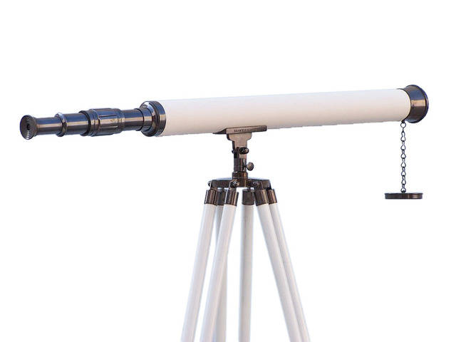 Floor Standing Oil-Rubbed Bronze-White Leather Harbor Master Telescope 60