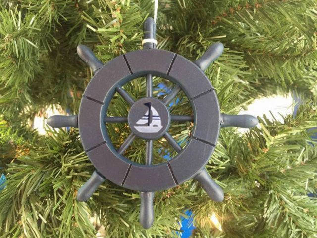Dark Blue Decorative Ship Wheel With Sailboat Christmas Tree Ornament 6
