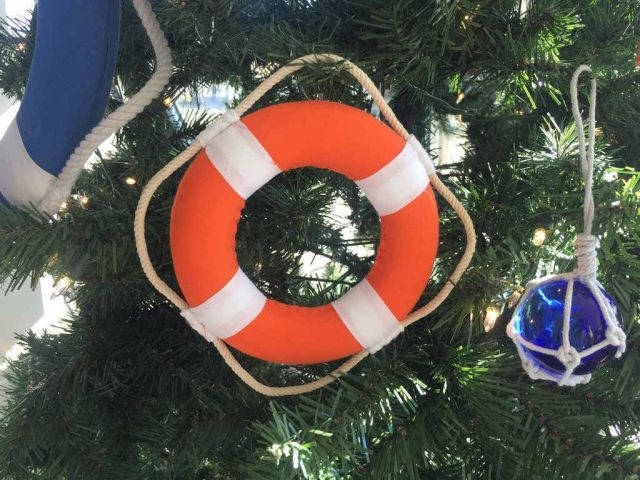 Vibrant Orange Decorative Lifering With White Bands Christmas Ornament 6