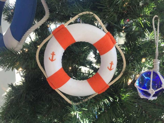 Classic White Decorative Anchor Lifering With Orange Bands Christmas Ornament 6