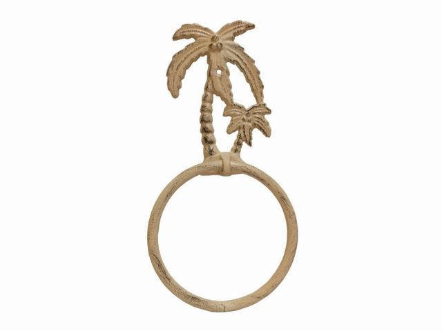 Aged White Cast Iron Palm Tree Towel Holder 9