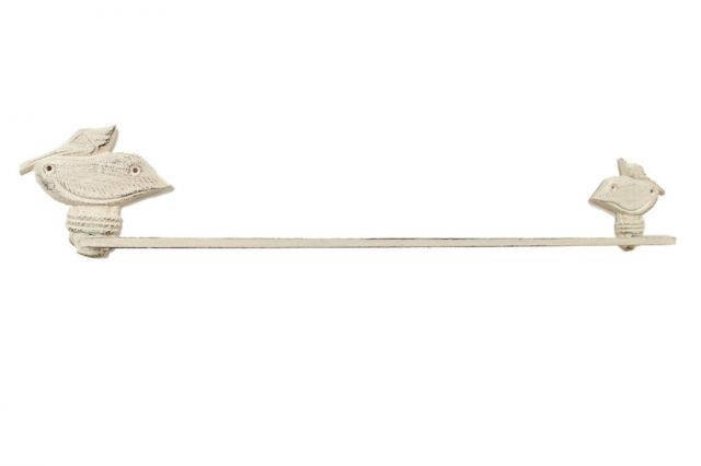 Whitewashed Cast Iron Pelican on Post Bath Towel Holder 28