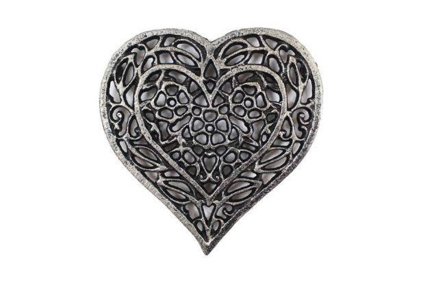 Rustic Silver Cast Iron Heart Shaped Trivet 7
