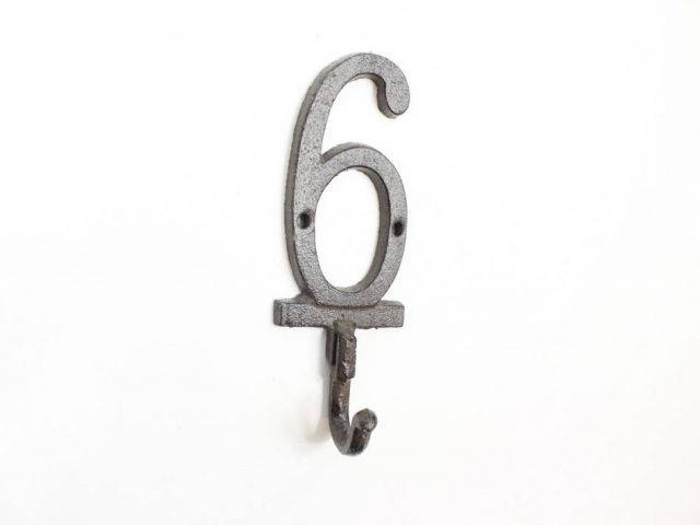Cast Iron Number 6 Wall Hook 6