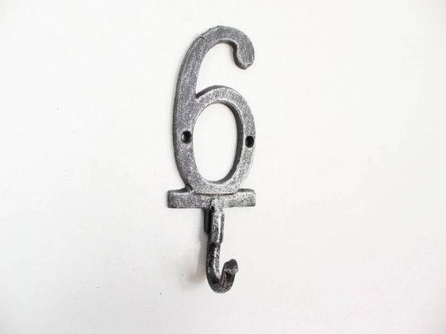 Rustic Silver Cast Iron Number 6 Wall Hook 6