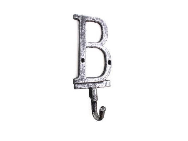 Rustic Silver Cast Iron Letter B Alphabet Wall Hook 6