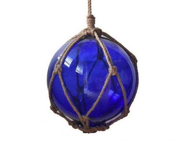 Blue Japanese Glass Ball Fishing Float With Brown Netting Decoration 8