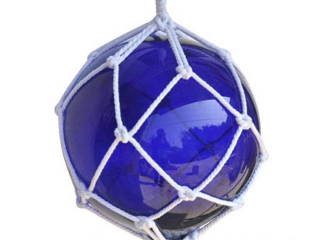 Blue Japanese Glass Ball Fishing Float With White Netting Decoration 12