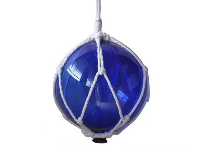 Blue Japanese Glass Ball Fishing Float With White Netting Decoration 8