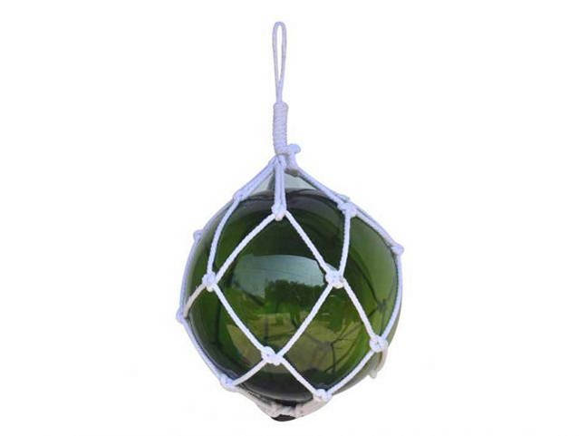 Green Japanese Glass Ball Fishing Float With White Netting Decoration 12