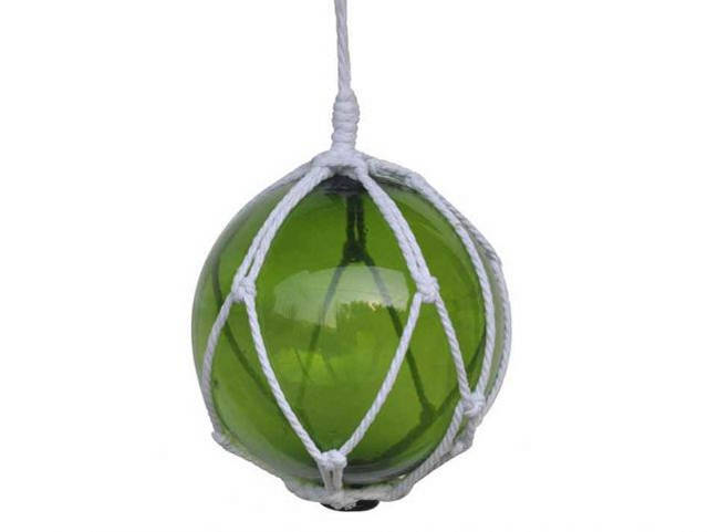 Green Japanese Glass Ball Fishing Float With White Netting Decoration 8