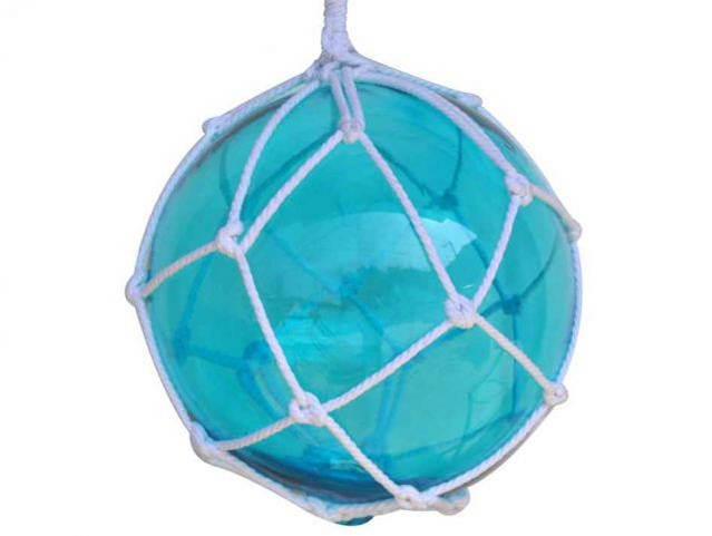 Light Blue Japanese Glass Ball Fishing Float With White Netting Decoration 12