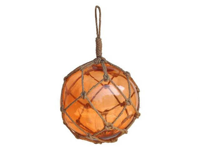Orange Japanese Glass Ball Fishing Float With Brown Netting Decoration 12