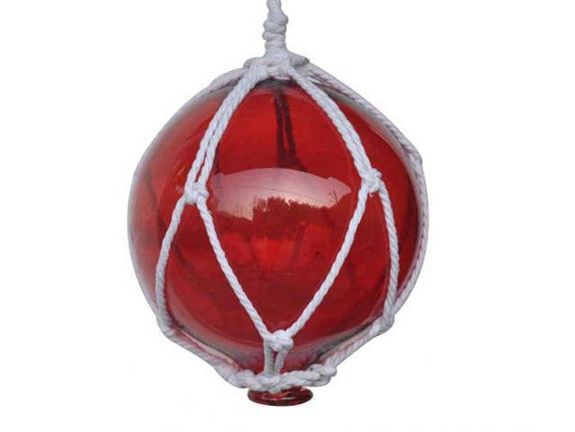 Red Japanese Glass Ball Fishing Float With White Netting Decoration 8