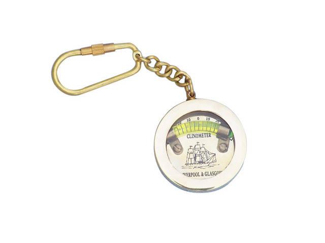 Solid Brass Clinometer Level Key Chain 5