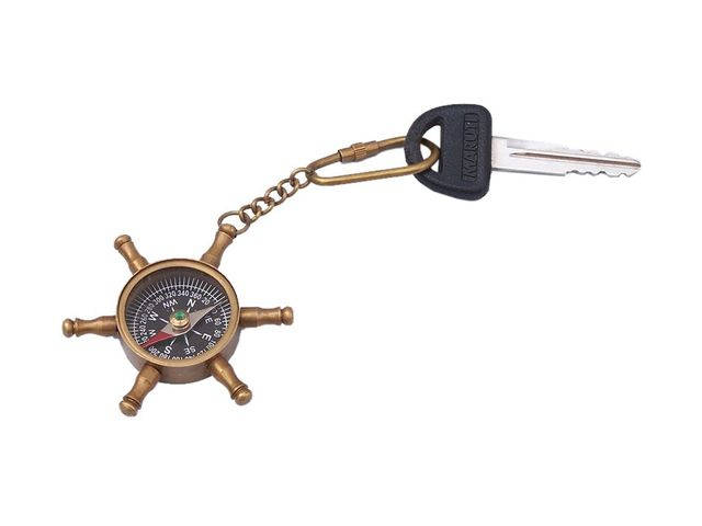 Antique Brass Ships Wheel Compass Key Chain 5