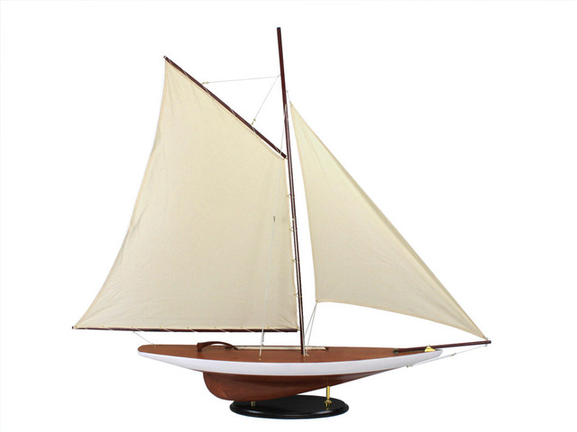 Wooden Americas Cup Contender Model Sailboat Decoration 50
