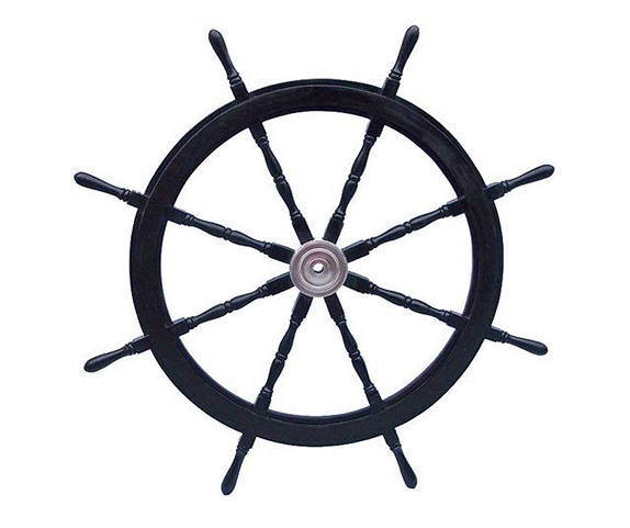 Deluxe Class Wood and Chrome Decorative Pirate Ship Steering Wheel 48