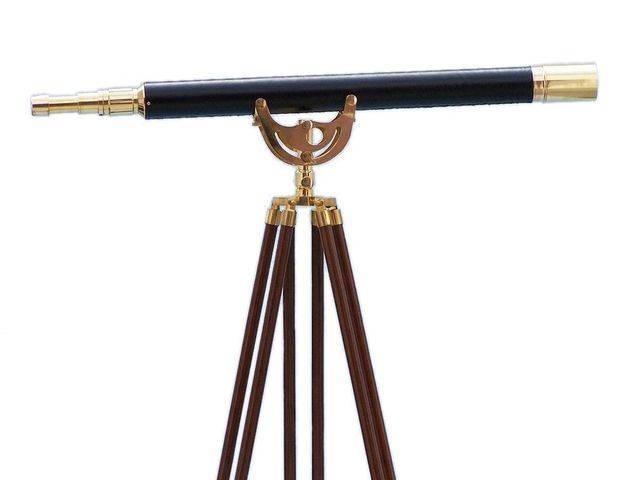 Floor Standing Brass-Leather Anchormaster Telescope 65