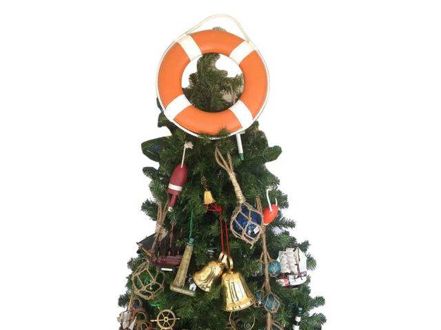 Orange Lifering with White Bands Christmas Tree Topper Decoration
