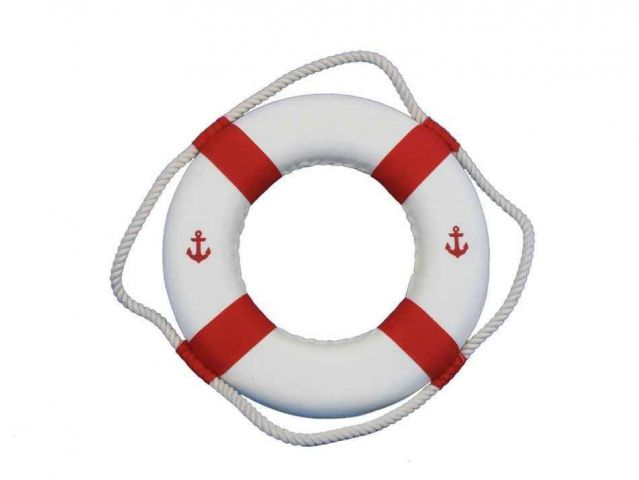 Classic White Decorative Anchor Lifering With Red Bands Christmas Ornament 10