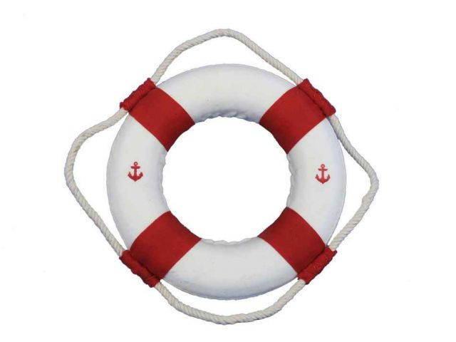 Classic White Decorative Anchor Lifering With Red Bands 6