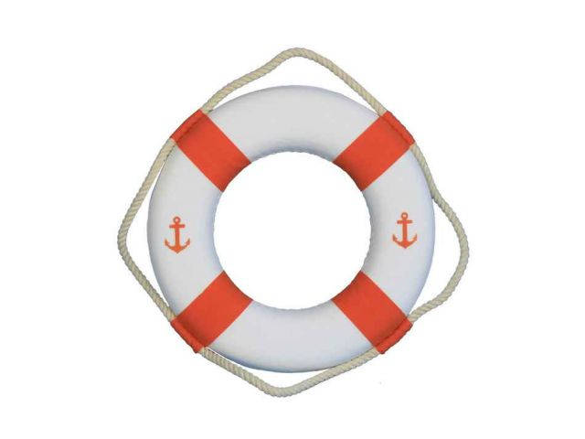Classic White Decorative Anchor Lifering With Orange Bands 10