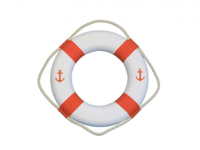 Classic White Decorative Anchor Lifering With Orange Bands 15
