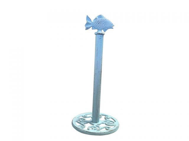 Rusitc Light Blue Cast Iron Fish Extra Toilet Paper Stand 15