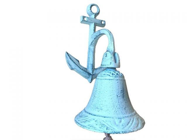 Light Blue Whitewashed Cast Iron Wall Hanging Anchor Bell 8