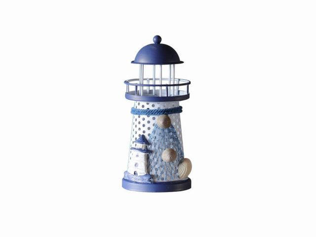 LED Lighted Decorative Metal Lighthouse with Small Lighthouse Christmas Ornament 6