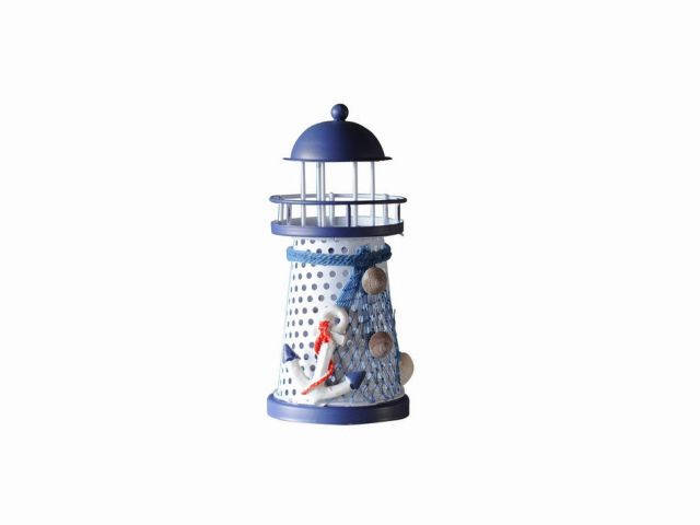 LED Lighted Decorative Metal Lighthouse with Anchor Christmas Ornament 6