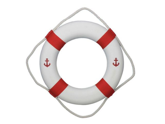 Classic White Decorative Anchor Lifering with Red Bands 20
