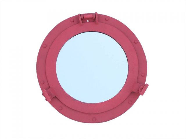 Rustic Red Aluminum Deluxe Class Decorative Ship Porthole Mirror 12