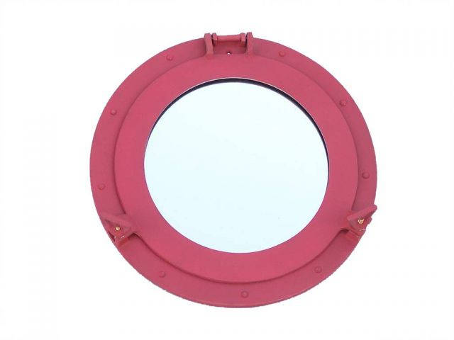 Rustic Red Aluminum Deluxe Class Decorative Ship Porthole Window 15