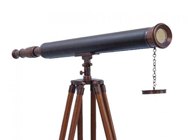 Floor Standing Bronzed With Leather Harbor Master Telescope 60