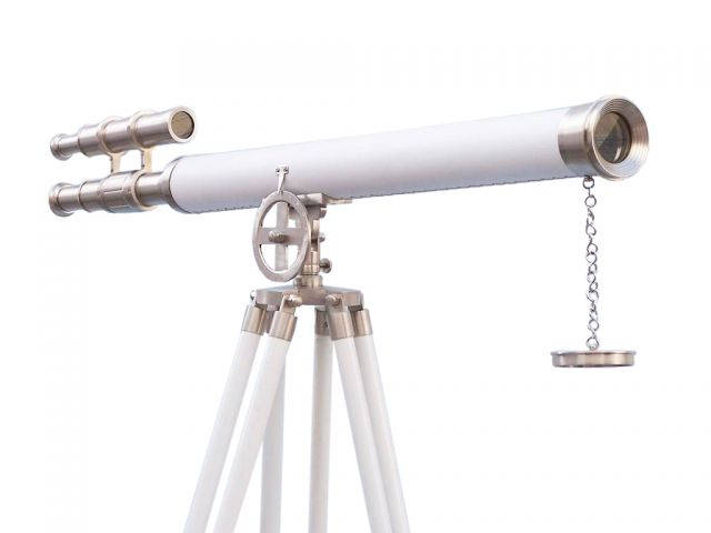 Floor Standing Brushed Nickel With White Leather Griffith Astro Telescope 65