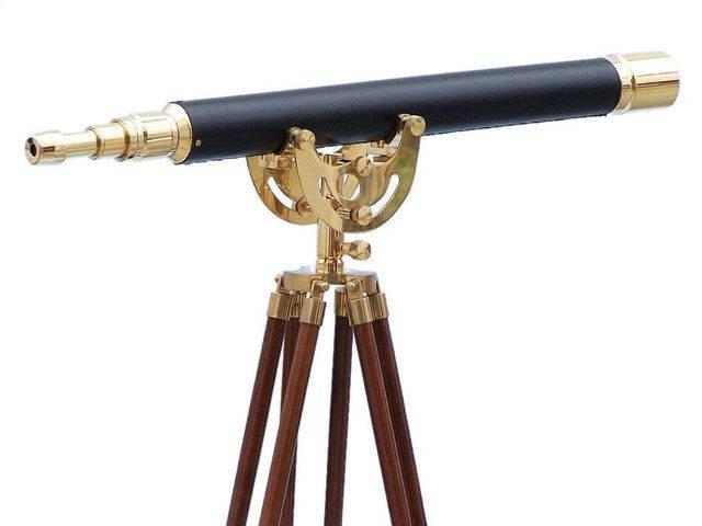 Floor Standing Brass-Leather Anchormaster Telescope 50
