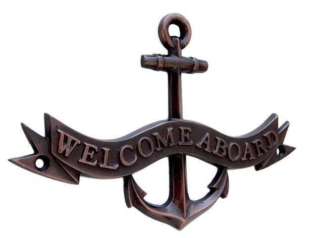 Antique Copper Welcome Aboard Anchor With Ribbon Sign 8