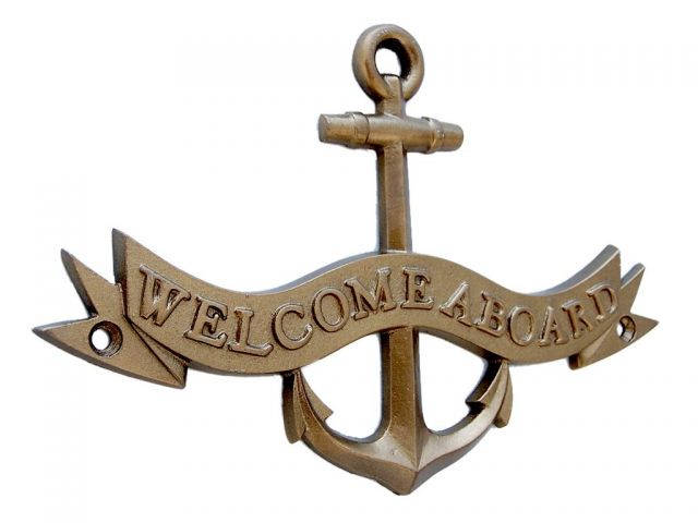 Antique Brass Welcome Aboard Anchor With Ribbon Sign 8