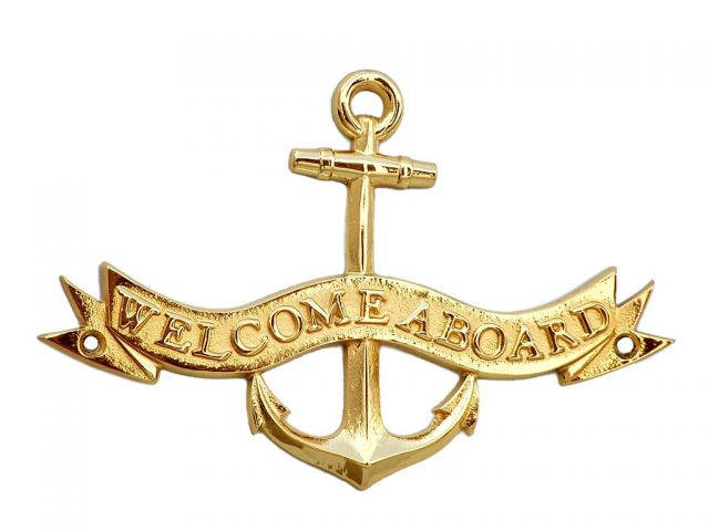 Brass Welcome Aboard Anchor With Ribbon Sign 8
