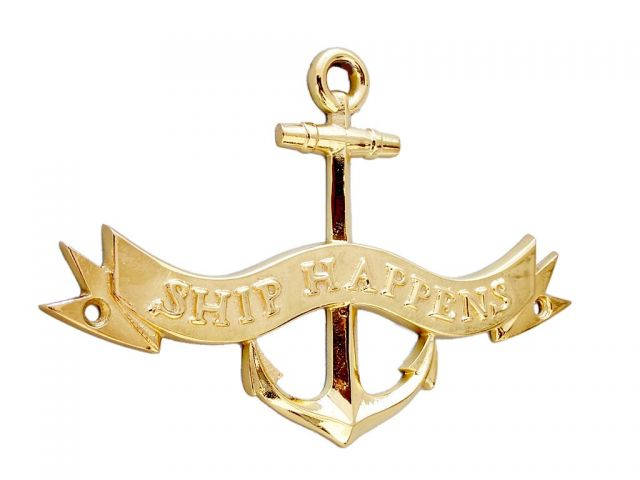 Brass Ship Happens Anchor With Ribbon Sign 8
