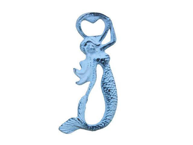 Rustic Dark Blue Whitewashed Cast Iron Arching Mermaid Bottle Opener 6