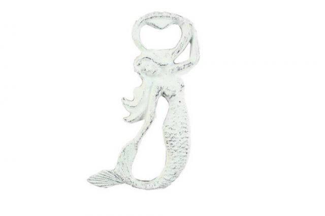 Rustic Whitewashed Cast Iron Arching Mermaid Bottle Opener 6