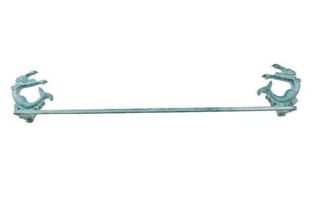Rustic Dark Blue Whitewashed Cast Iron Decorative Arching Mermaid Bath Towel Holder 28