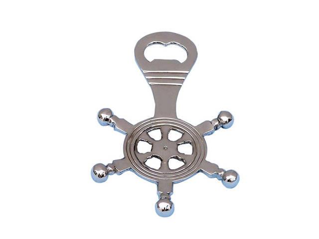 Chrome Ship Wheel Bottle Opener 5